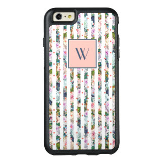 Monogram | Blue & Pink Rose Stripes Polka Dots OtterBox iPhone 6/6s Plus Case
