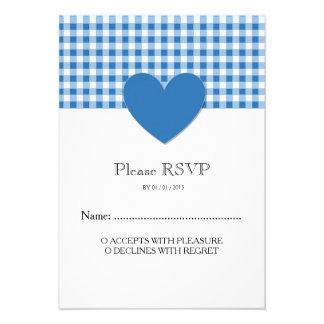 Monogram Blue Plaid Heart Wedding RSVP Card