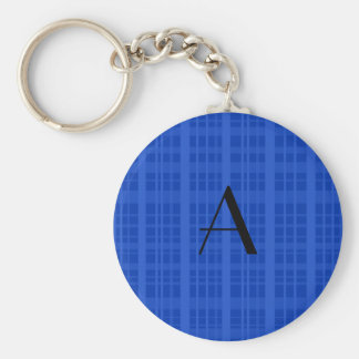 Monogram blue plaid keychain