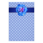 Monogram blue polka dots blue rose