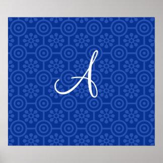 Monogram blue retro flowers and circles poster