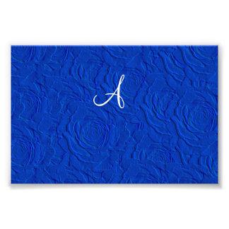 Monogram blue roses faux texture photo art