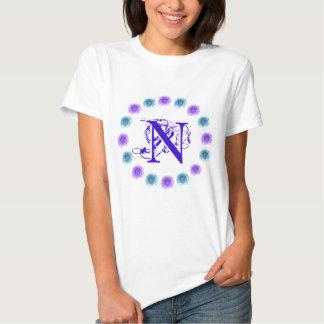 Monogram Blue Roses Tshirt Letter N