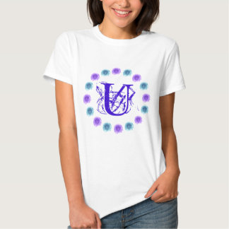 Monogram Blue Roses Tshirt Letter U