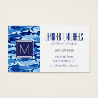 Monogram Blue Shark Pattern Business Card