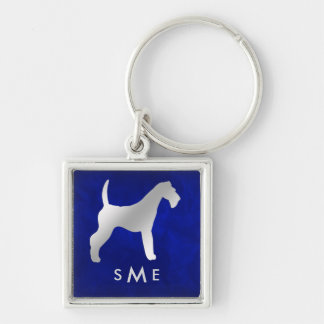 Monogram Blue Silver Airedale Terrier Key Ring