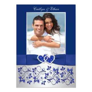 Monogram Blue, Silver Floral PHOTO Wedding Invite
