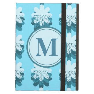 Monogram Blue Snowflake Pattern Customizable iPad Air Cover