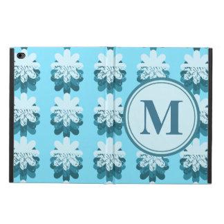 Monogram Blue Snowflake Pattern Powis iPad Air 2 Case