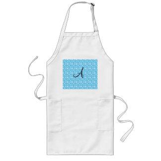 Monogram blue snowflakes aprons