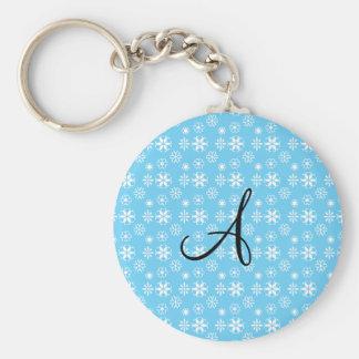 Monogram blue snowflakes keychain