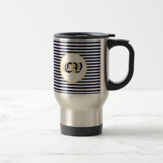 Monogram Blue stripes design Stainless Steel Travel Mug