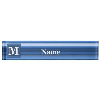 Monogram blue stripes nameplate
