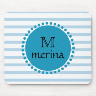 Monogram Blue Teal Gold Striped Circle Mouse Pad
