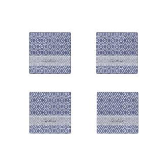 Monogram Blue Tribal Print Ikat Diamond Pattern Stone Magnet
