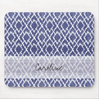 Monogram Blue Tribal Print Ikat Diamond Pattern Mouse Mat