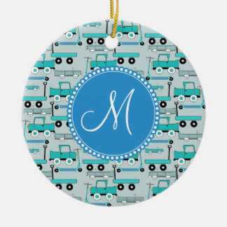Monogram Blue Wheels Scooters Cars Wagons Trucks Christmas Ornament