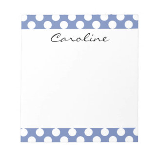 Monogram Blue White Trendy Fun Polka Dot Pattern Notepads