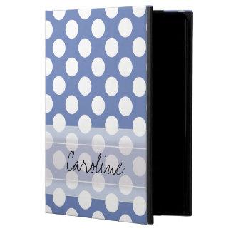Monogram Blue White Trendy Fun Polka Dot Pattern Powis iPad Air 2 Case