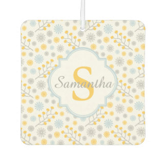 Monogram Blue Yellow & Gray Modern Air Freshener