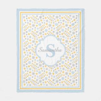 Monogram Blue Yellow & Gray Modern Fleece Blanket