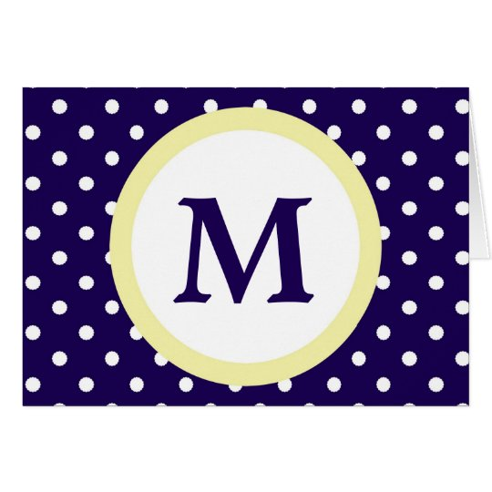 Monogram Blue Yellow Polka Dot Personal Note Card