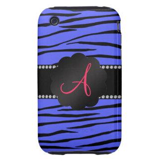 Monogram blue zebra stripes tough iPhone 3 case