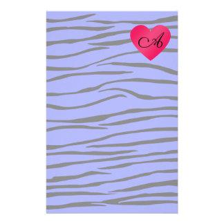 Monogram blue zebra stripes stationery design