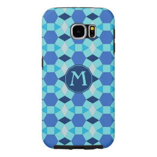 Monogram blues tile pattern samsung galaxy s6 cases