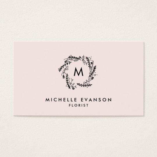 Monogram Blush Pink and Black Floral Wreath Business