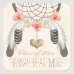 MONOGRAM BOHO DREAM CATCHER GRADUATION CLASS OF SQUARE STICKER
