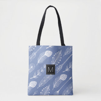 Monogram Boho Feather and Arrows Pattern Tote Bag