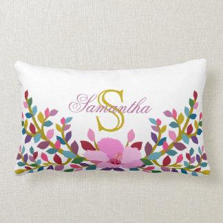 Monogram Boho Foliage Hibiscus Lumbar Pillow