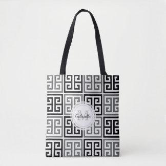 Monogram Bold Greek Key Motif Tote Bag