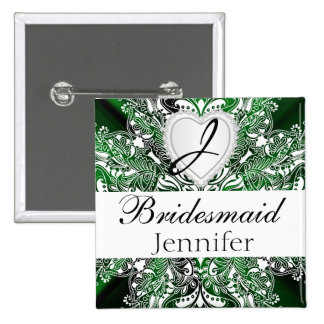 Monogram Bridal Party Dark Green Satin Design 15 Cm Square Badge