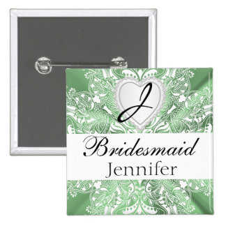 Monogram Bridal Party Mint Green Satin Design 15 Cm Square Badge