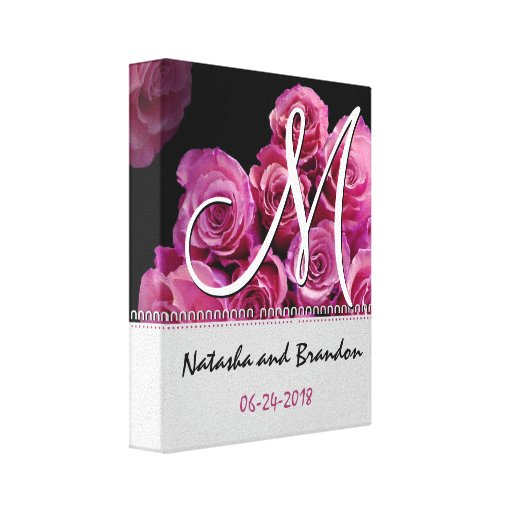 Monogram Bride and Groom with Pink Roses Canvas Prints