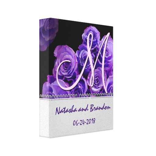 Monogram Bride and Groom with Purple Roses Gallery Wrapped Canvas