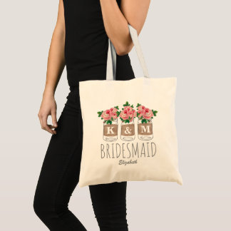 MONOGRAM BRIDESMAID | MASON JAR WEDDING TOTE BAG
