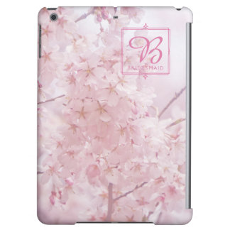 Monogram Bridesmaid Pale Pink Cherry Blossoms Case For iPad Air