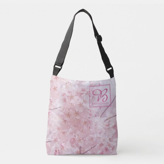 Monogram Bridesmaid Pale Pink Cherry Blossoms Crossbody Bag