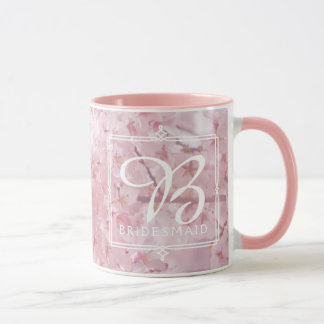 Monogram Bridesmaid Pale Pink Cherry Blossoms Mug