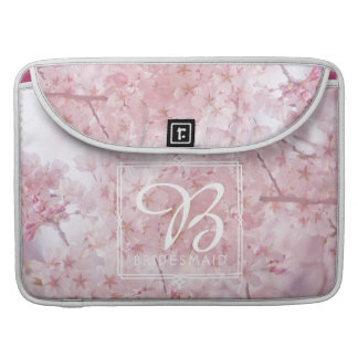 Monogram Bridesmaid Pale Pink Cherry Blossoms Sleeves For MacBooks