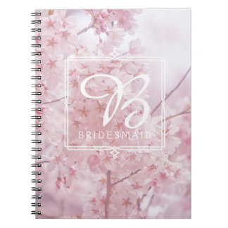 Monogram Bridesmaid Pale Pink Cherry Blossoms Spiral Notebook