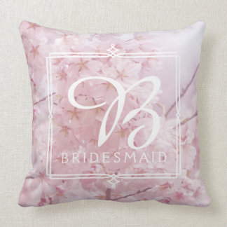 Monogram Bridesmaid Pale Pink Cherry Blossoms Throw Pillow