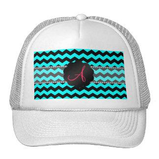 Monogram bright aqua and black chevrons cap