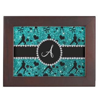 Monogram bright aqua glitter volleyball players memory boxes