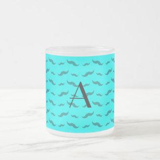 Monogram bright aqua mustache pattern mug