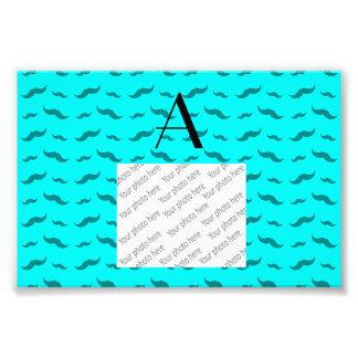 Monogram bright aqua mustache pattern photo art