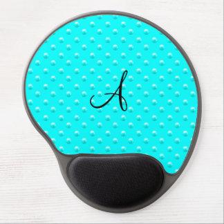 Monogram bright aqua pearl polka dots gel mouse pad